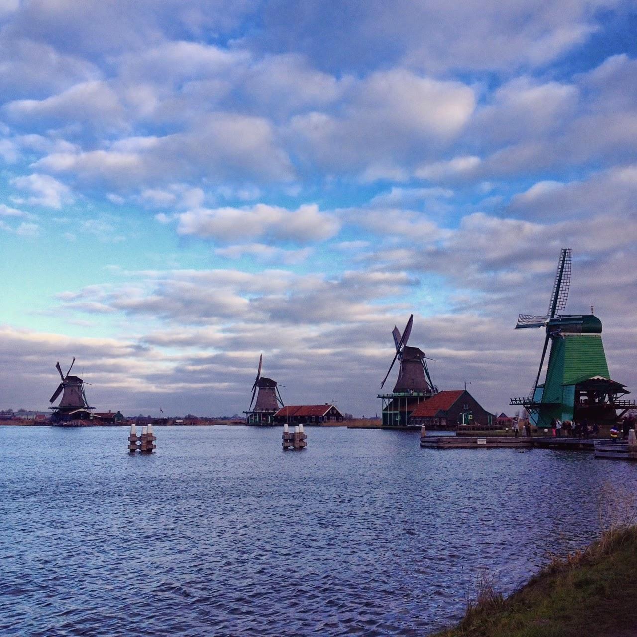 Windmills in Zaanse Schans, Amsterdam, Netherlands