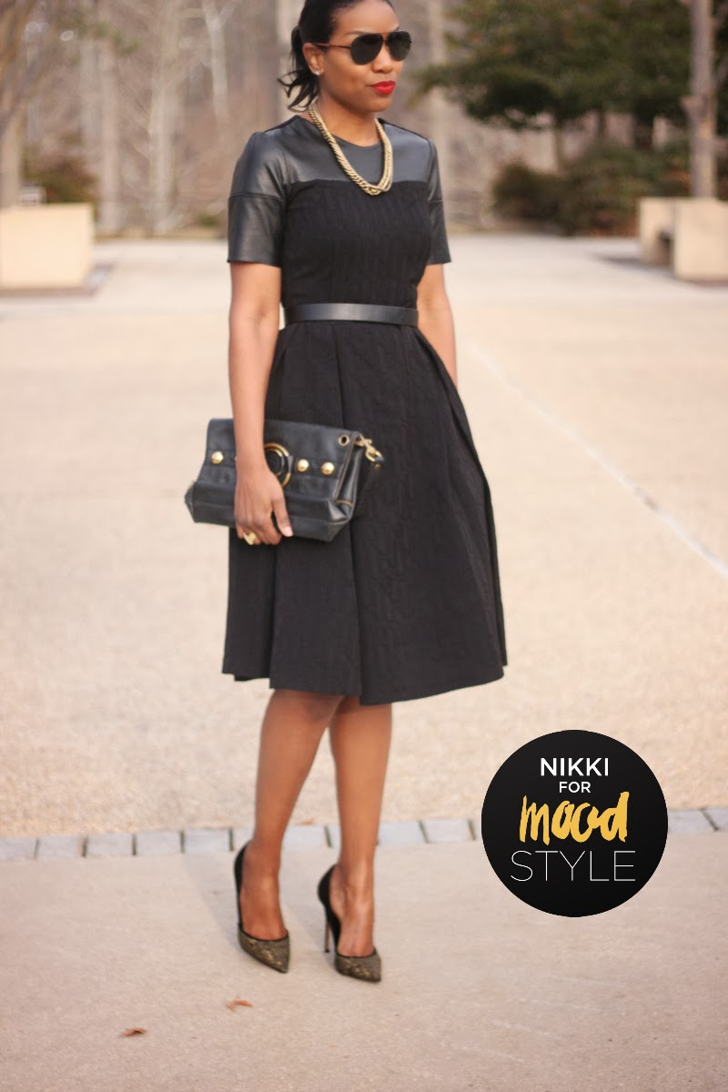 Brocade and leather black dress made with fabric from Mood Fabrics and McCalls pattern 5927.