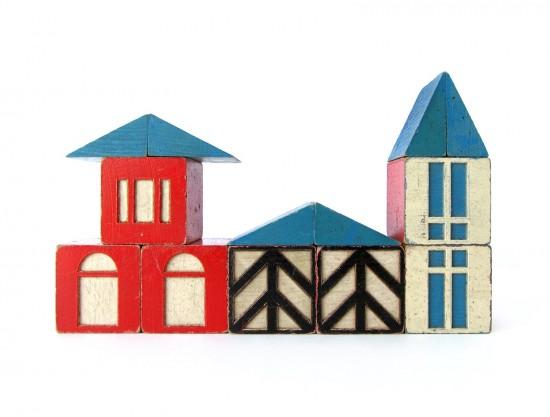 {Kids} A happy town of vintage village blocks