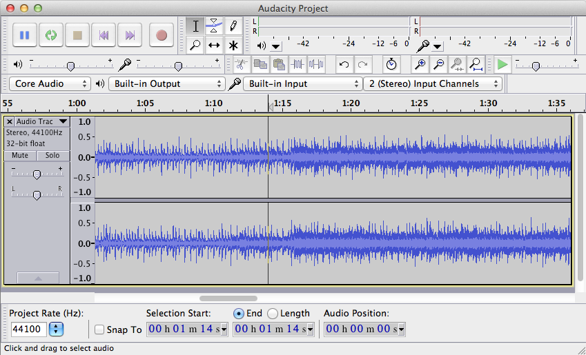 Sound editing in Audacity