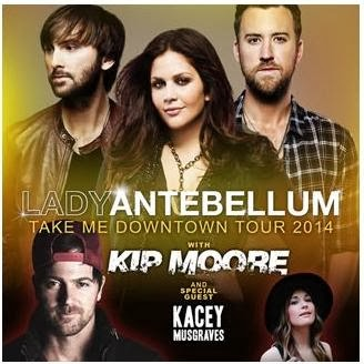 friday night i went to see lady antebellum in concert for their take me downtowntour and it was awesome kate emily and i bought the tickets back before