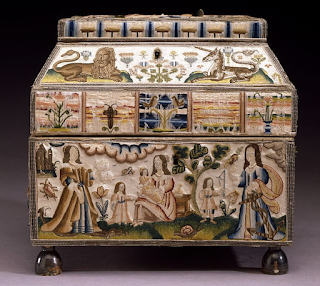 from the V&A Museum, this casket embroidery very much resembles the 17th century stump work embroidery conserved at Spicer Art Conservation