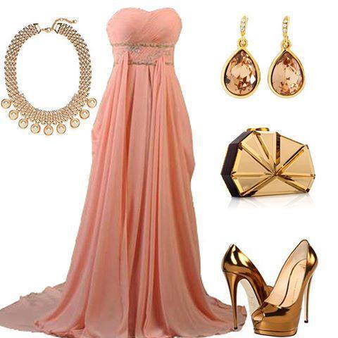 Light orange party gown, golden ear tops, necklace and high heel golden shoes for ladies