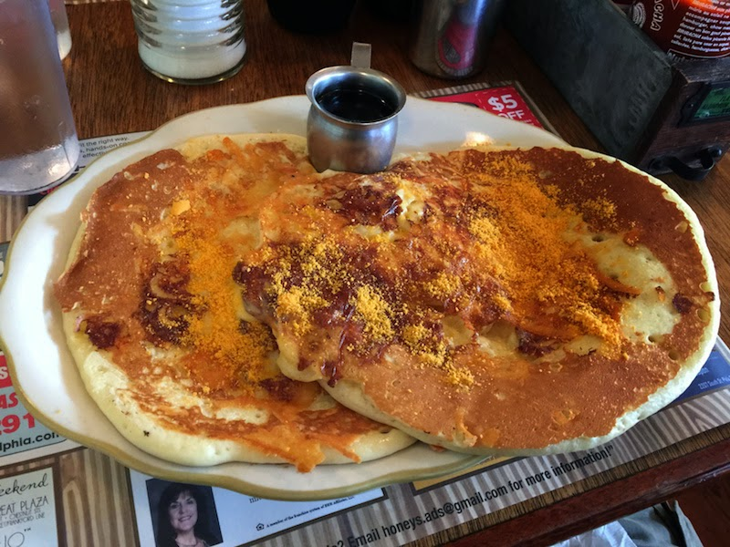 Mac & Cheese Pancakes at Honey's Sit N Eat in Philadelphia