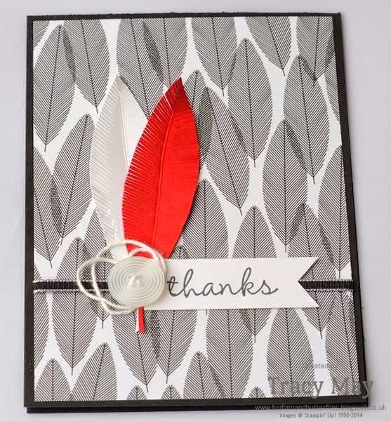 stampin up uk independent stampin up demonstrator Tracy May Back to Black DSP feather card