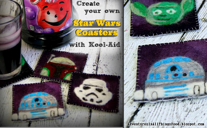 Kool-Aid dyed felted Star Wars Coasters at Adventures In All Things Food. http://adventuresinallthingsfood.blogspot.com/2014/05/star-wars-coaster-creations-easy-wool.html