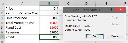 Goal Seek Output