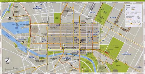 Mapa do centro de Melbourne