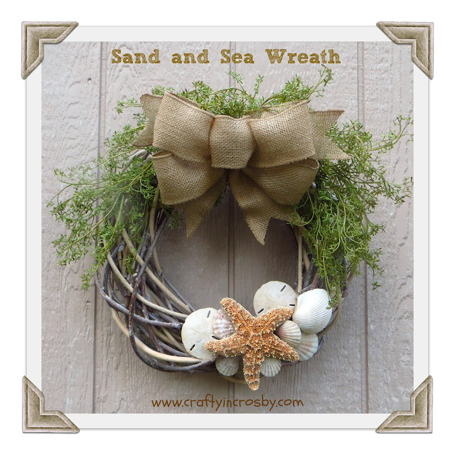seashell, burlap, seaweed, wreath, starfish