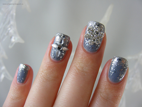 Blue Grey Glittery Nails