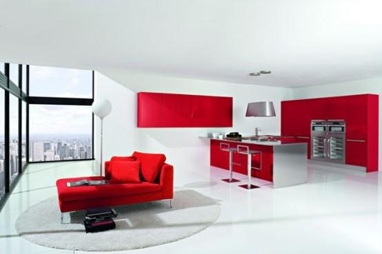 Cocina moderna con matices rojo y blanco de doimo cucine for Cocinas en rojo y blanco