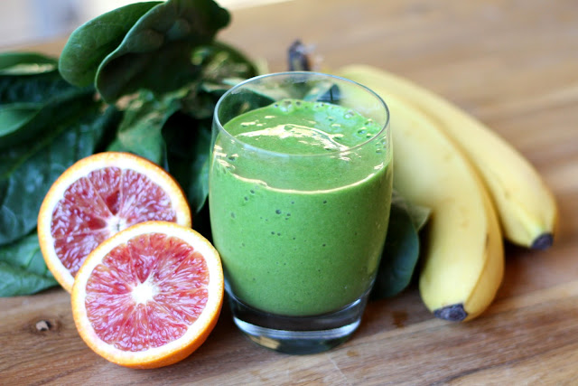 Blood Orange Pineapple Spinach Smoothie recipe by Barefeet In The Kitchen