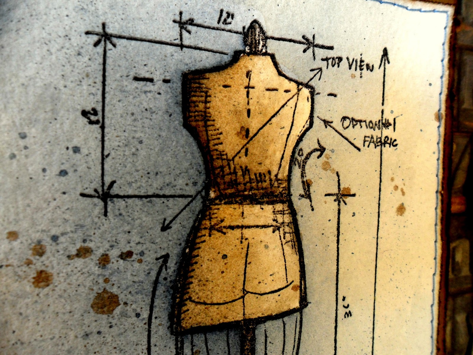 Artful evidence card blueprints dressform created for the crazy amigos challenge where the theme is distress products the background paper is from a tim holtz stack malvernweather Choice Image