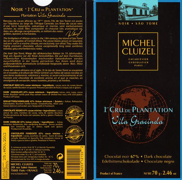 tablette de chocolat noir dégustation michel cluizel noir 1er cru de plantation vila gracinda