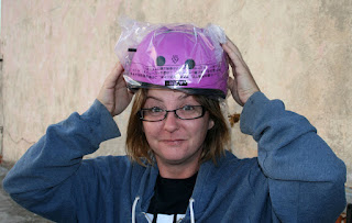 Excited by a purple helmet