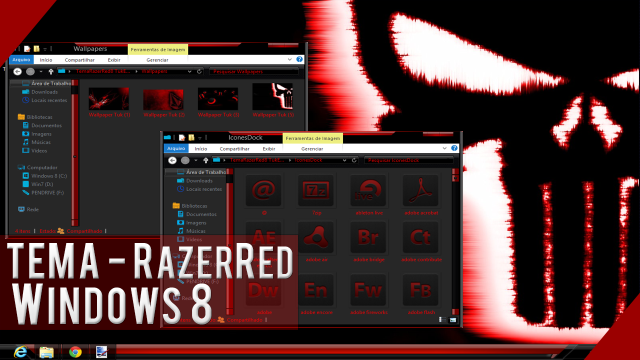 Tema RazerRed 8 para Windows 8 + SkinPack 2013
