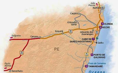 Mapa de acessos a Porto de Galinhas
