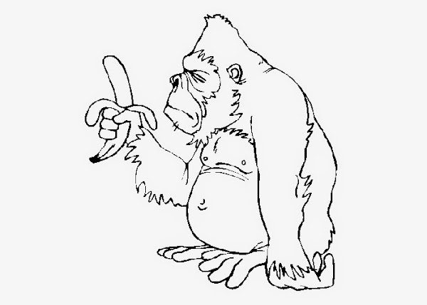 Monkey And Banana Coloring Pages