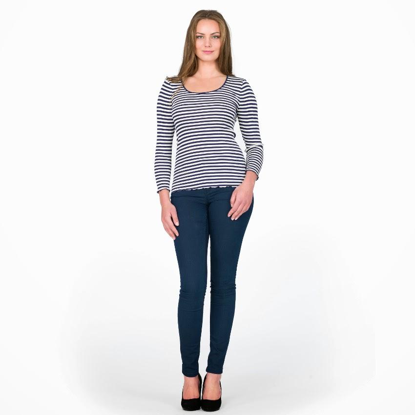 Seide Langarm-Shirt Arona marine-weiß von Gattina