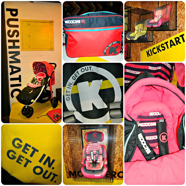 The brand new Koochi range including Pushmatic kickstart changing bag and footmuff