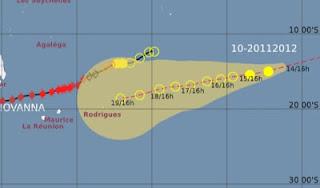 Tropischer Sturm 13S (TS / TC 13S, potentiell Zyklon HILWA) zieht in Richtung Rodrigues, Mauritius und La Reunion, Hilwa, aktuell, Mauritius, Vorhersage Forecast Prognose, Indischer Ozean Indik, Zyklonsaison Südwest-Indik, Februar, 2012,