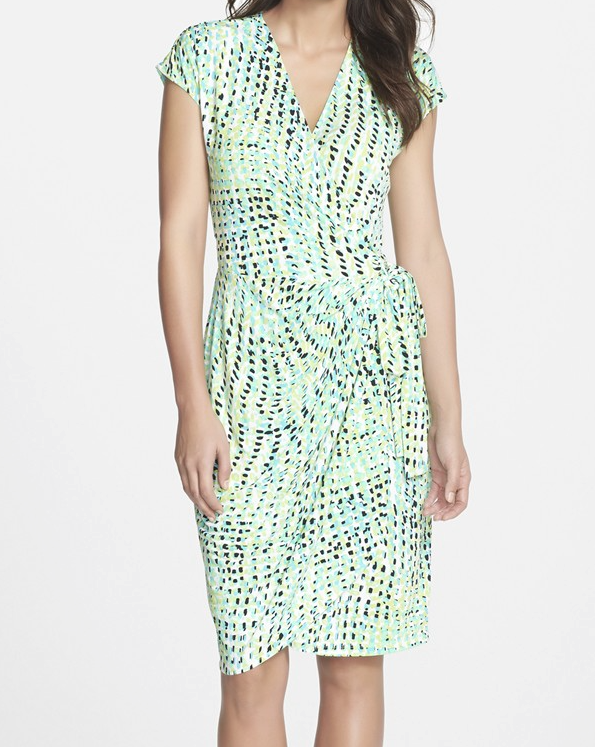 Maggy London Print Jersey Wrap Dress $58.80
