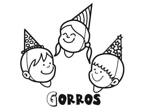 Dibujos para colorear de gorros de fiesta - Imagui