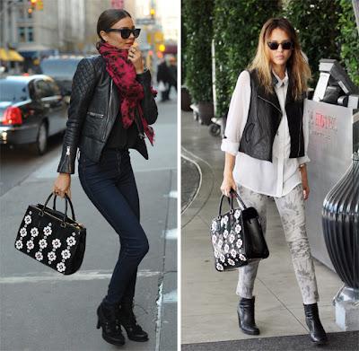 Miranda-Kerr-Jessica-Alba+look+bolsa+fashion+Bag-amarelo bordo-moda-tendencia-Prada