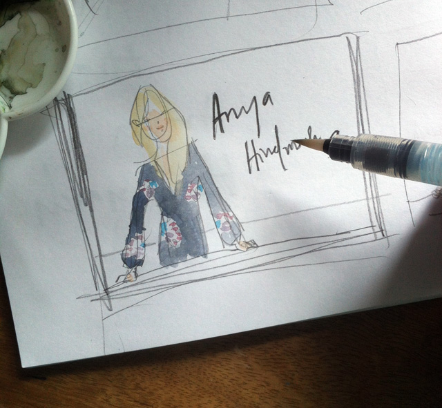 Anya Hindmarch sketch, blonde woman in floral shirt