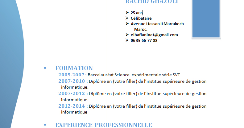 comment faire un cv  cv simple original format word