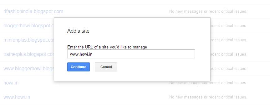 Add your premium blogspot blog domain on Google Webmaster Tools