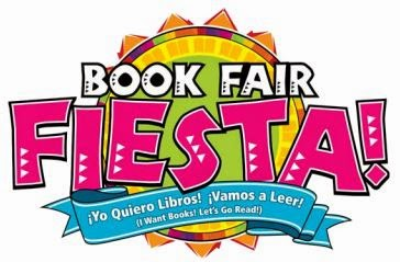 "The words ""BOOK FAIR FIESTA"" are centered above a stylized image of the sun. Below them is a draped banner that reads, ""Yo Quiero Libros! Vamos a Leer!"" with the English translations, ""I Want Books! Let's Go Read!"""
