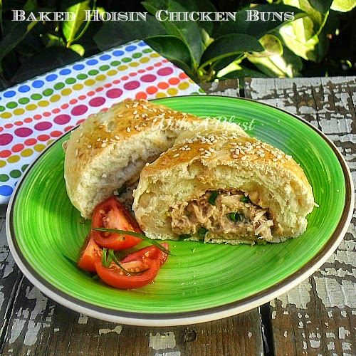 Baked Hoisin Chicken Buns ~ Delicious Chicken filling baked in bread dough to perfection #FilledBuns #ChickenRecipe #Sandwiches