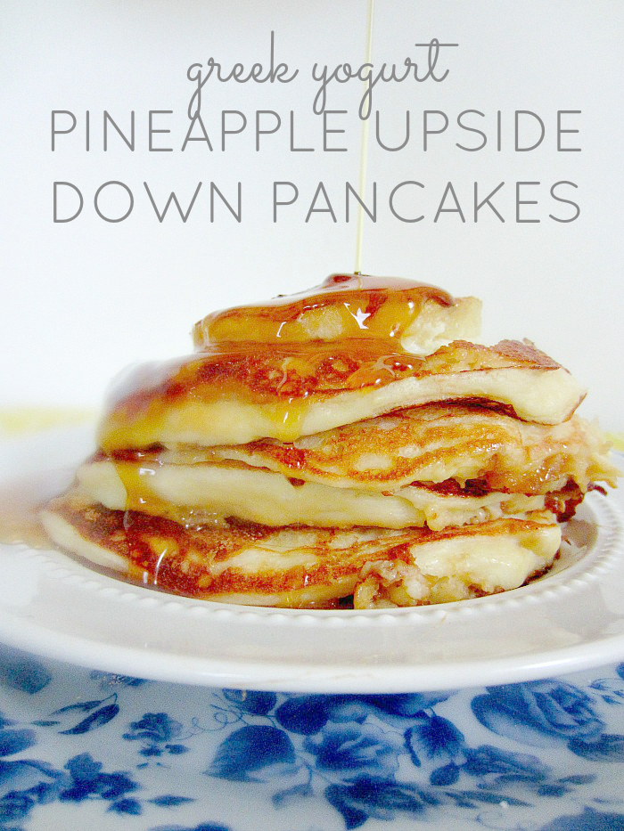 Greek Yogurt Pineapple Upside Down Pancakes | The perfect brunch pancakes via Club Narwhal