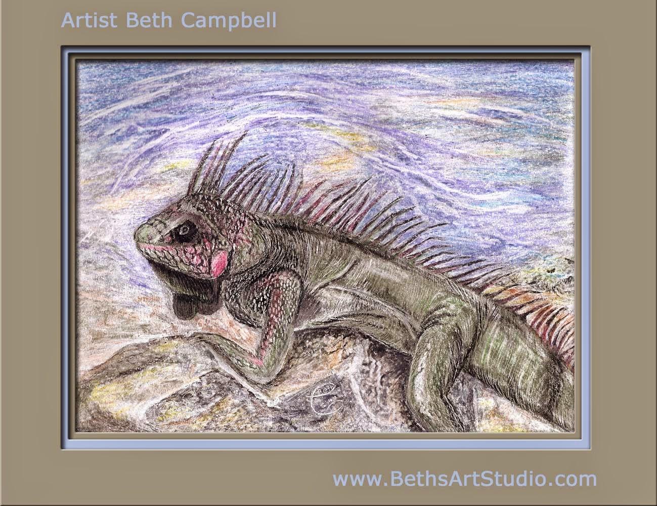 Iguana crayola crayon painting Beth Campbell