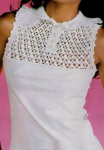 blusa com crochê