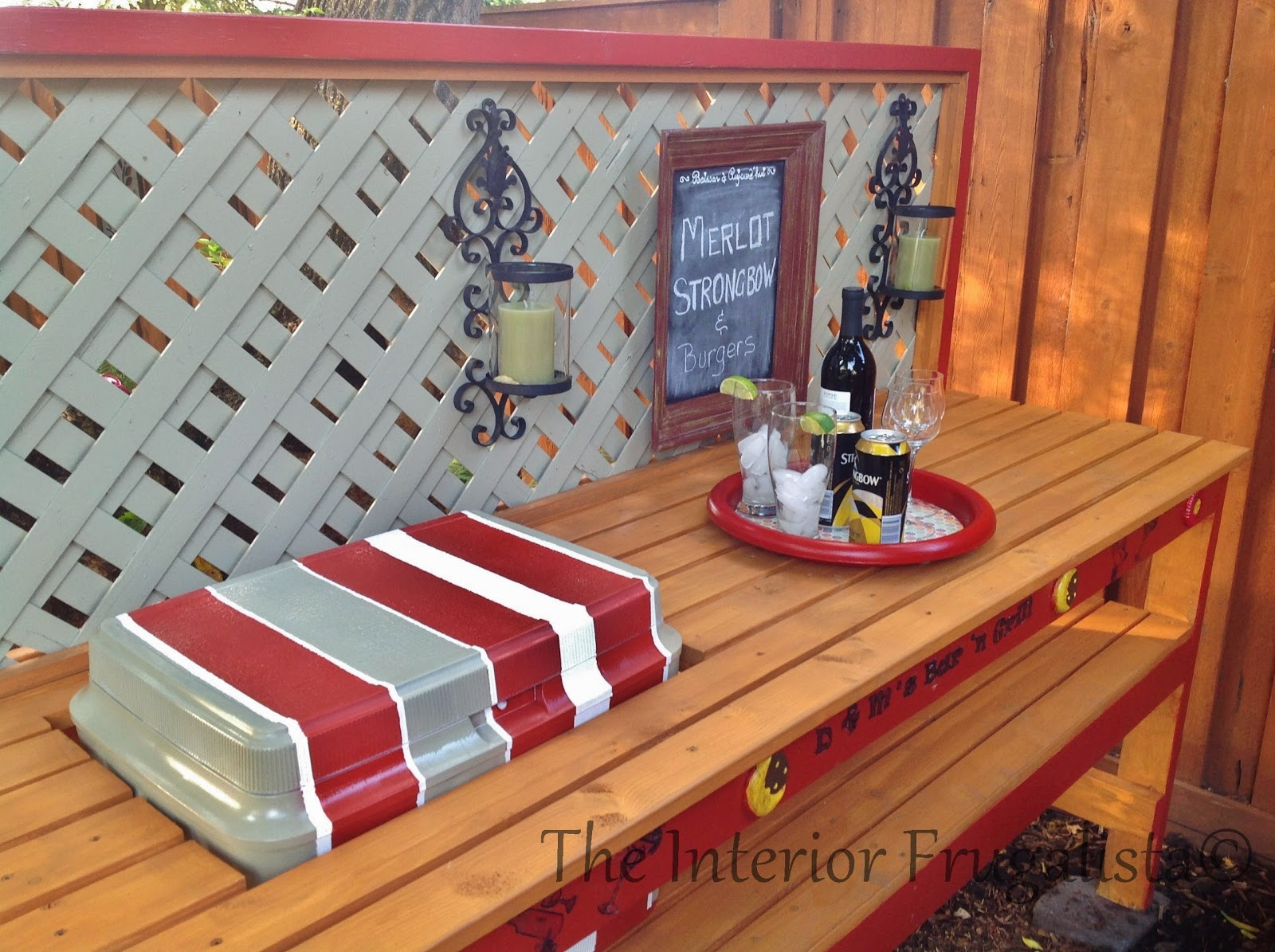 Easy DIY potting bench and outdoor bar with cooler insert