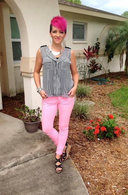 studs, hot pink, & stripes