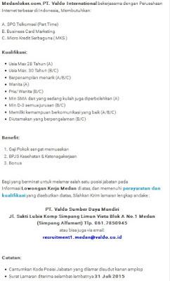 Lowongan kerj resmi PT Valdo International