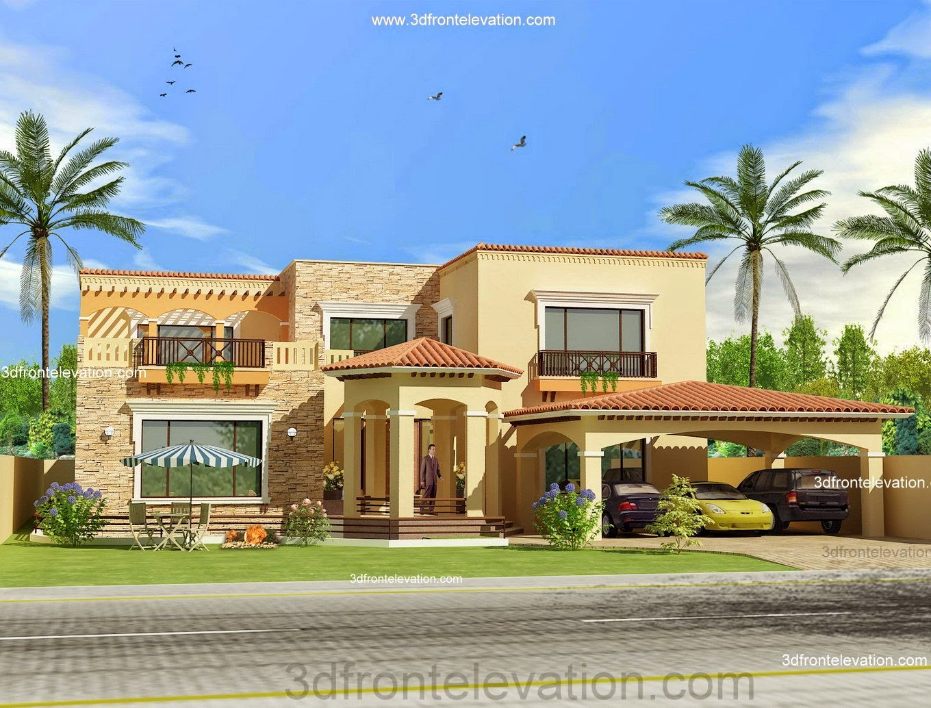 3d front pakistan front elevation of house for Single house front design