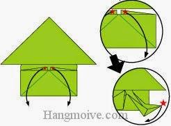 Bước 10: Từ vị trí hình sao màu đỏ, kéo và gấp hai cạnh giấy xuống dưới.