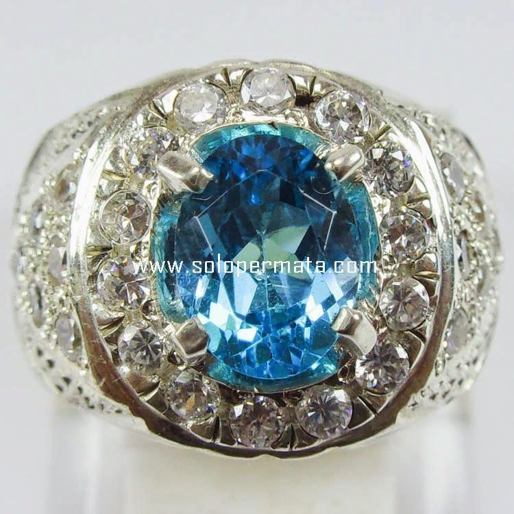 Cincin Batu Permata Blue Topaz - Sp 238|Garansi Natural Asli | Harga ...