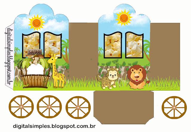 Safari Bebés: Caja con forma de Carruaje para Imprimir Gratis.