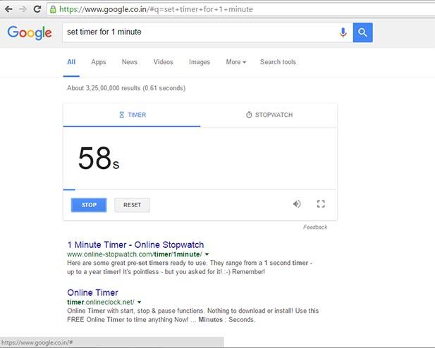 google set timer for 15 minutes