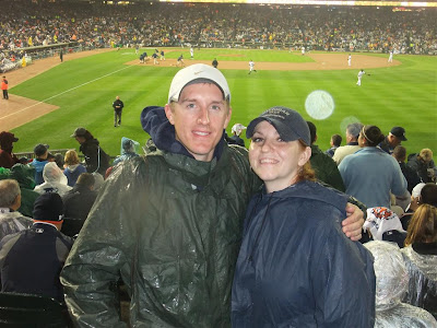comerica park playoff game, rain, 2011