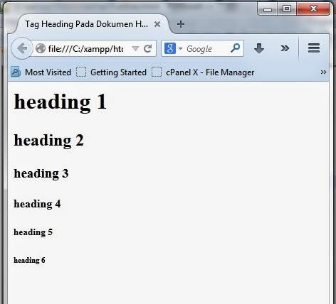 Tag Heading Pada HTML
