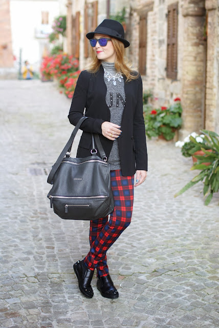 zara tartan pants, h&m fedora hat, roberto botticelli sneakers, givenchy pandora, fashion and cookies, fashion blogger