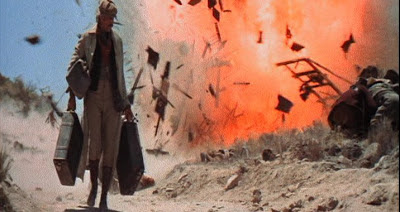 James Coburn as IRA dynamite expert and revolutionary John H. Mallory, explosion scene, Directed by Sergio Leone