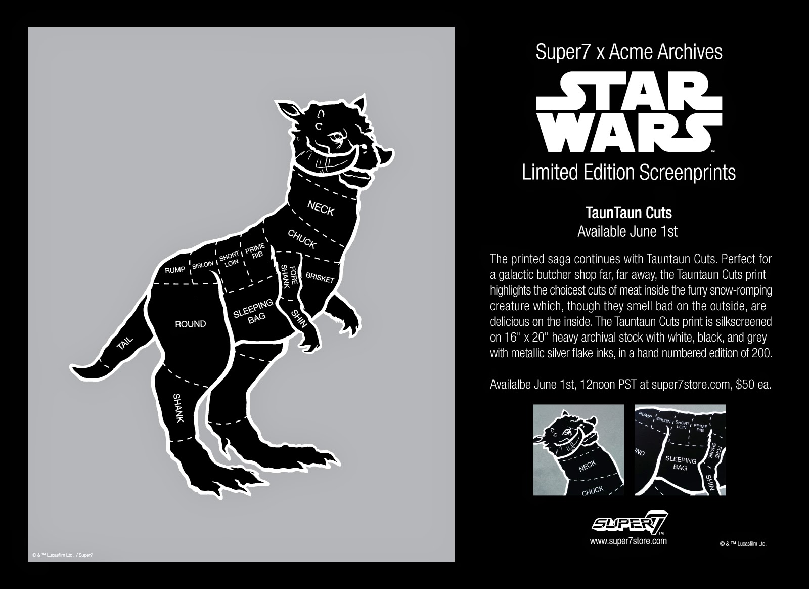 "Super7 x Acme Archives ""Tauntaun Cuts"" Star Wars Screen Print"