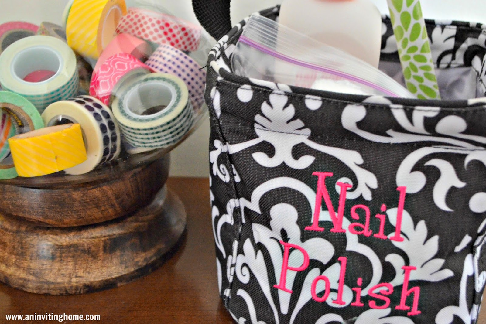 storing nail polish in a little tote